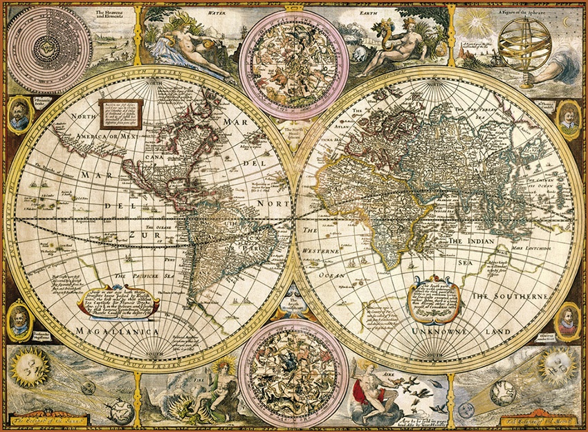 puzzle karta sveta Puzzle 3000   Starožitná mapa sveta | Dráčik puzzle karta sveta